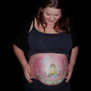 Body schmink studio bellypaint babyshower funny bird 2 aarle rixtel logo