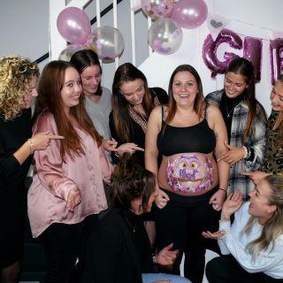 Body schmink studio bellypaint babyshower uil met roses helmond friend groep foto logo