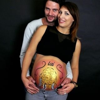 Body schmink studio bellypaint dreamcatcher foto couple logo