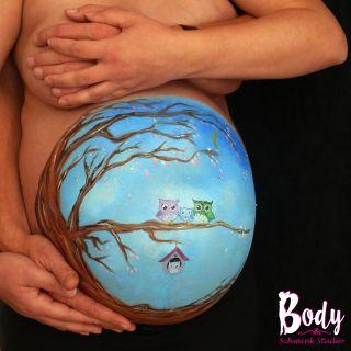 Body schmink studio bellypaint family uil met arms2