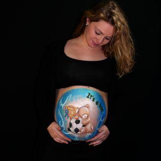 Body schmink studio bellypaint teddy football beek en donk 2 logo