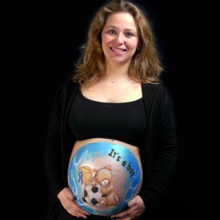 Body schmink studio bellypaint teddy football beek en donk logo