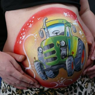 Body schmink studio bellypaint tractor beek en donk photo belly logo