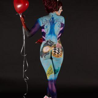Body schmink studio bodypaint wbf 2020 theme psychedelic circus alice in wonderland 2