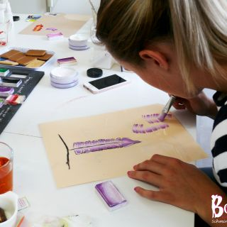 Body schmink studio cursus one stroke feathers techniek 4