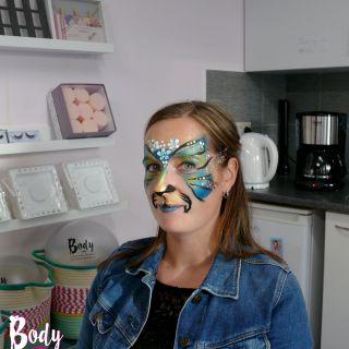 Body schmink studio cursus basis schminken beek en donk colorful cat 3