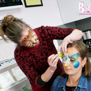 Body schmink studio cursus basis schminken beek en donk colorful cat