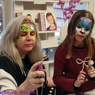 Body schmink studio cursus basis schminken neon girly skull en tijger beek en donk
