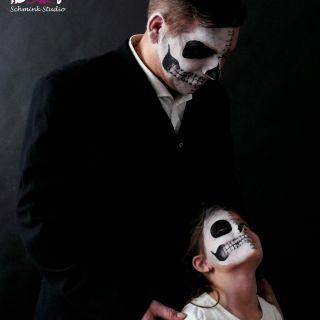 Body schmink studio face paintings carnaval skulls family 2