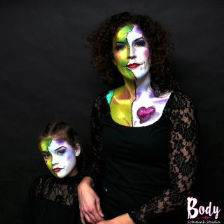 Body schmink studio half faces heart carnaval 2019 beek en donk 2