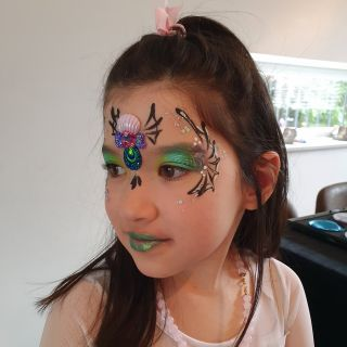 Body schmink studio kinderfeest extra bling bling spider weg princess helmond 2