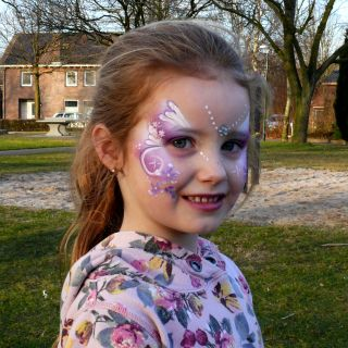 Body schmink studio kinderfeest purple princess beek en donk 2 logo