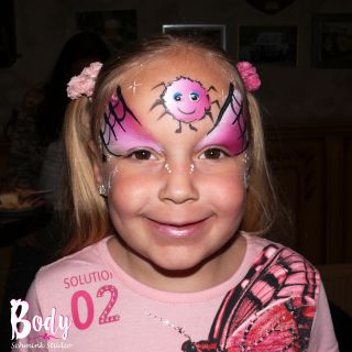 Body schmink studio schmink kinderfeest pink wuppie spider logo