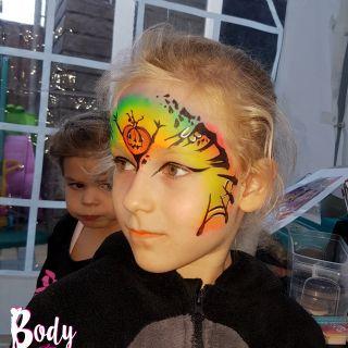 Body schmink studio schminken kinderfeest thema halloween pumking neon 3 helmond logo