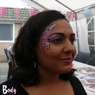 Body schmink studio kinderfeest pink eye design helmond logo