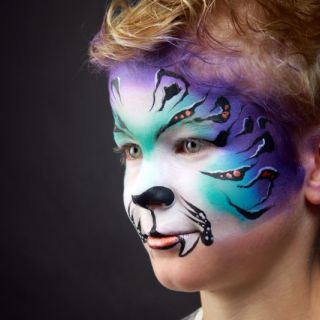Body schmink studio tiger_on black paint professional colours by partyxplosion foto pxp