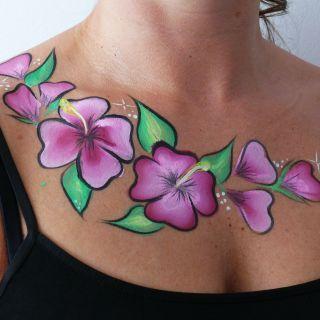 Body schmink studio body part painting hibiscus