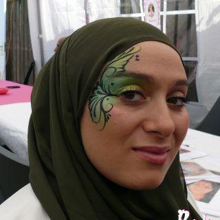Body schmink studio kinderfeest green and gold eye design helmond logo
